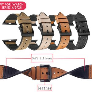 Laforuta Leather Loop for Apple Watch Bands 40mm 44mm iWatch Silicone Strap 38mm 42mm Series 4 3 2 1 WatchBand Wrist Belt