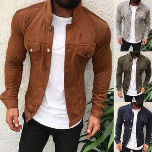 Куртка Moomphya Suede Ткань Мужчины Streetwear Vintage Мужчины куртка ветровка Hip Hop Winter текстурированные Мужские куртки и пальто
