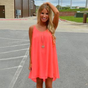 Frauen-Strand-Kleid Fluorescence Weibliche Sommer-Kleid Chiffon Voile Frauen-Kleid-Sommer-Art-Frauen Kleidung Plus Size Groß