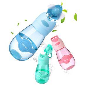 3 colores 400ml de aficionados del ventilador botella de agua al aire libre Deportes Copa portátil de la taza del viaje verano fresco Copas Ventilador USB de carga de agua de la botella 10pcs CCA11714