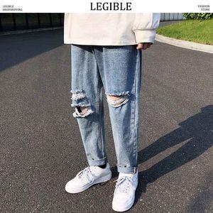 LEGIBILE 2019 Autunno Hip Hop Jeans da uomo Pantaloni di jeans tinta unita Uomo Moda Pantaloni larghi Jeans diritti Uomo