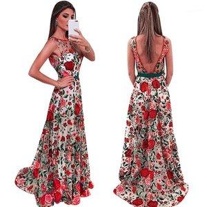 Abendkleid Luxusdamenmode Neue Art und Weise beiläufige Partei-Kleid-Spitze aushöhlen Print Damen Kleid ärmellos Stickerei-Frauen