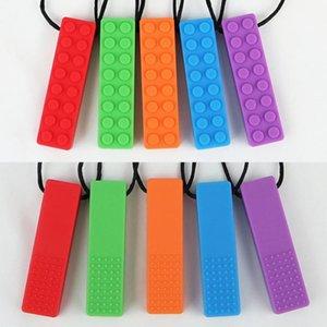 뜨거운 판매 1 PC의 감각적 인 씹는 목걸이 벽돌 질긴 아이들의 실리콘 Biting 연필 Topper Teether 장난감
