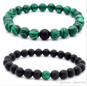 JLN Power Beads Malachite Bracelet Matt Onyx Gemstone Beaded Stretch Couple Bracelet For Man Woman