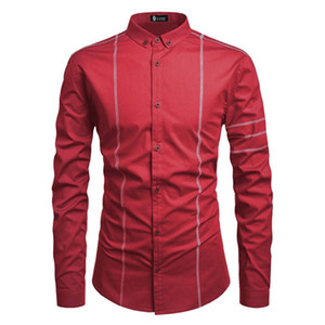 Splice Shirt Mens manches longues Vêtements Lapel solide Casual Homme simple boutonnage Hauts Hommes Designer Printemps