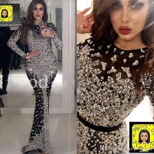 2020 Yousef vendimia Aljasmi Negro de manga larga sirena vestidos de noche con cuentas Mayor Prom Vestidos robe de soirée Abendkleider