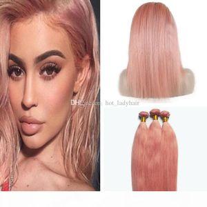 Peruviano Oro Rosa Virgin fasci di capelli Con 360 Frontal del merletto Chiusura Modo di colore rosa lisci capelli umani tesse Con Pre pizzico 360 Frontale