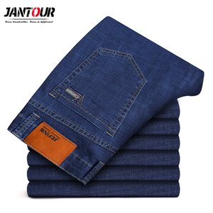 jantour 2019 New Mens brand jeans Fashion Men Casual Slim fit Straight High Stretch jeans black hot sell male trousers big size