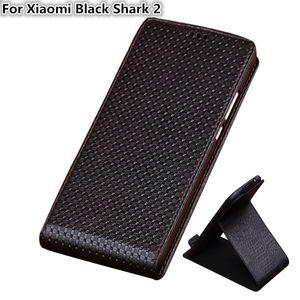 QX03 Luxury Genuine Leather Vertical Flip Phone Case For Xiaomi Black Shark 2 Case For Xiaomi Black Shark 2 Vertical Flip Case Kickstand