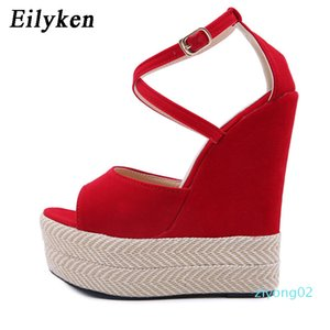 Eilyken 2020 New Woman Ankle Buckle Strap Sandals Weave Straw Platform Wedge High Heels Summer Fashion Red Party Female Shoes z02