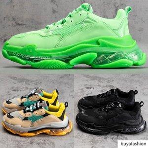 Erkekler kadınlar kristal tek Üçlü S lüks tasarımcı ayakkabı kaliteli Temizle Sole Neon Yeşili sarı siyah beyaz erkek spor rahat spor ayakkabıları