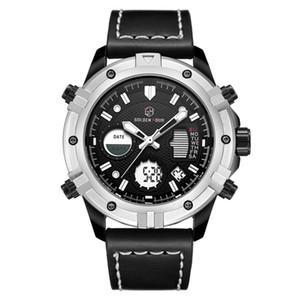 Relógio de pulso à prova d'água Militar Reloj Hombre GOLDENHOUR Esporte Leather Men Watch Digital Automático 2019 Relogio Masculino