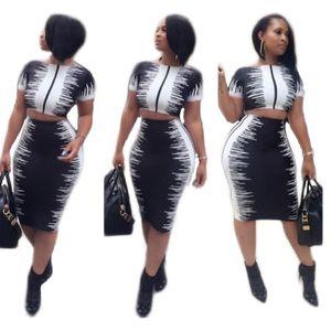 Noir / Blanc Contraste Couleur Imprimé Mode Femme Deux pièces Ensemble robe O cou à manches courtes Tops Paquet Hanches Crop Costume Jupe