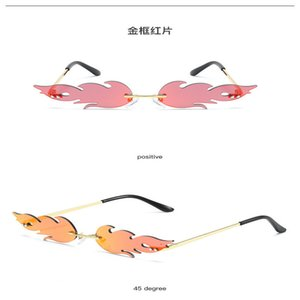 Flame sunglasses 2020 Fashion Tears Flame Sunglasses Women Men Brand Design Rimless Wave Eyewear Luxury Trending Narrow Sun Glasses k8j39 ph