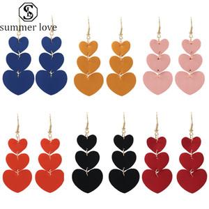 Kunstleder-Ohrring 6 Farben Herzform Double Side Weihnachtsohrring baumelt lange Ohrringe Schmuck-Geschenk für Frauen Sommer-Liebe-heißen Verkauf-Y