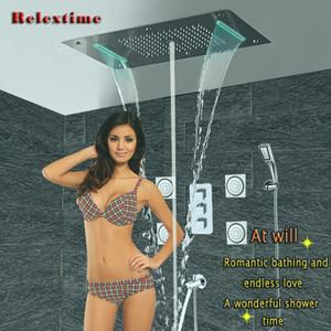 욕실 샤워 세트 액세서리 숨겨진 수도꼭지 패널 탭 수도관 온도 조절 믹서 LED 천장 샤워 헤드 빗물 폭포 버블 샤워 SPA Ducha