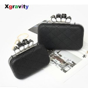 XGRAVITY Licthi Pele Sexy Ladies Clutch Bag cadeia de moda Designer Bolsas de Ombro Mulheres Retro Anel Mini partido Crânio Lady Bag A006 Y200103