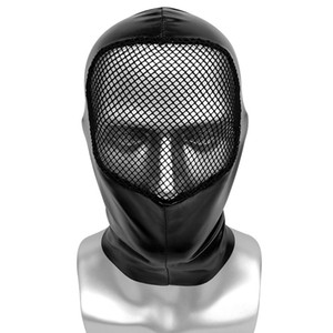 Adult unisex Costumes Party Accessories Halloween Hood Masks Cosplay Shiny Faux Leather Mask with Mesh Open Face