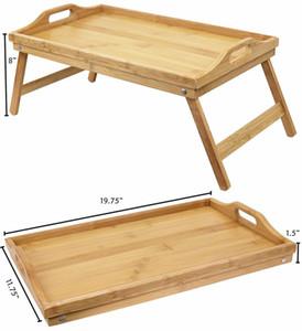 Бамбуковая кровать Tray завтрак Laptop стол еды Обслуживание Таблица складными ножками Новый 2020