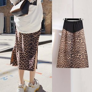 Maternity dress spring 2020 new fashion web celebrity leopard print slit midlength maternity skirt belly support skirt