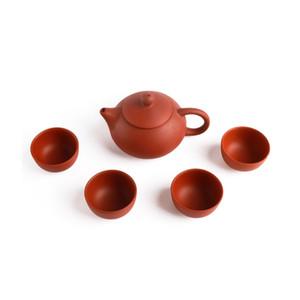 Natural Roxo Barro Tea Set com 1 Bule 4 Teacups Handmade roxo Areia chinês Kong Fu Teaware autênticos presentes Yixing chá