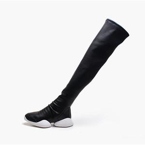 Joelho Moda Womens alta Botas de couro preto Suede Leather Heel Womens botas longas Especial 9 # 20 / 20d50