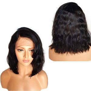 Bob Wavy Lace Front Wigs court en dentelle pleine perruque avec bébé cheveux Raie sur le côté Glueless avant de dentelle perruque pour les femmes