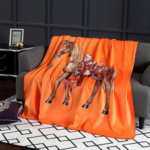 Royal Fancy Horse Brand Дизайнер Velvet Одеяло Креативный шаблон комплекты постельного белья Диван Броски Одеялки Luxury Home Interiors Wedding