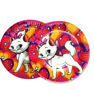 10 unids / pack Marie Cat tema platos desechables baby shower decoraciones de la fiesta de cumpleaños Marie Cat platos de papel