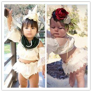 Juego del bebé lindo de la falda de las muchachas encantadoras Trajes de encaje de manga remata las blusas + falda corta de 2 PC sets verano faldas del bebé para las muchachas Regalo 70-100cm E22501