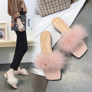 Nuovo stile dolce pelliccia Slipper Chunky-Heel Pantofole Semi-scarpe col tacco alto DONNA