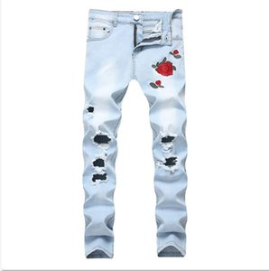 Fashion Mens Ripped Jeans Floral Embroidery Straight Fit Lightblue Denim Pants Vintage Washed Destroyed Jeans With Holes For Men 077