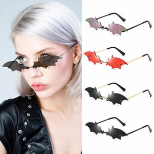 2020 New Fashion Sunglasses Rimless Retro Bat Shape Sun Glasses Ladies UV400 Trending Narrow Eyewear Streetwear Accessories