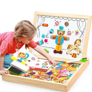 100 + PCS Деревянные Magnetic Puzzle Рисунок / Животные / Транспорт / Настольные Цирк Drawing 5 стилей Box Обучающие игрушки Подарочные