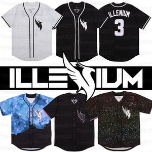 DJ Illenium Jersey Cantor 3 # Branco preto dos homens versão costurada Moda Edição Diamante Baseball Jerseys livre do transporte