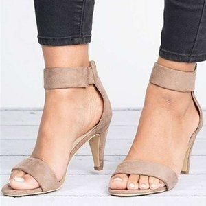 Caliente de la venta que bombea las sandalias de tacón alto fina punta abierta de la cremallera del ante del leopardo Oficina señoras de la plataforma sandalia Sapato Feminino