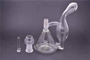 Rig Bong conjunta 14.4mm en línea Birdcage percolador del aceite del tubo de agua Vaso reciclado del vidrio Bongs Pipas de agua de dos funciones