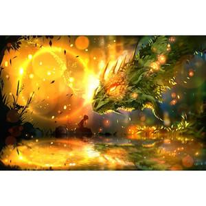 """h2555 diamante pintura Kit de taladro completo """"paisaje del dragón? con herramientas 5d diy rhinestone mosaico diamante bordado pintura"""