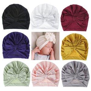 18 cores Hat bebê Algodão Bow Turban Hat bebê Fotografia Props Crianças Beanie infantil Acessórios Cap bebê para meninas bonés Criança do menino