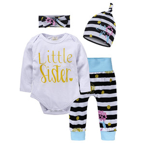 4pcs Newborn Baby Girls clothes Cotton Long Sleeve Romper+ Floral Pants +Hat Headband Infant Outfits Clothes Set