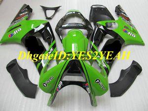 KAWASAKI Ninja için enjeksiyon kalıp Fairing kiti ZX6R 636 03 04 ZX 6R 2003 2004 ABS Plastik Yeşil siyah