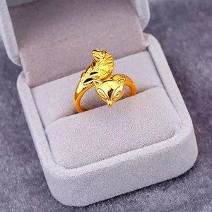 Latão senhoras anel fox banhados a ouro fox jóias banhado a ouro