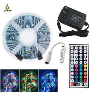 SMD2835 RGB LED tiras 54leds / m 5m 10m 10m luzes de RGB à prova d'água com controlador de chave IR 44 e adaptador