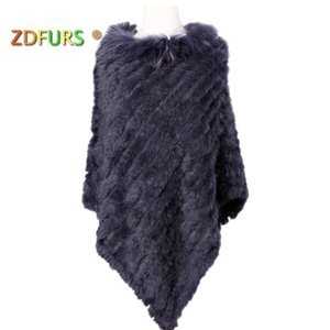 ZDFURS * malha real poncho de pele de coelho plus size gola de pele de guaxinim guarnição moda estilo de pele de rua warps D19011004