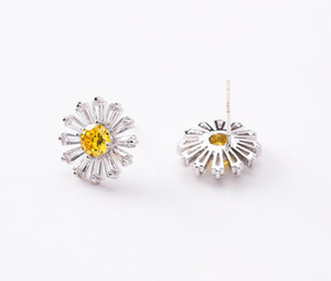 925 silver needle fresh small daisy flower zircon earrings simple temperament sweet sun flower ear jewelry female