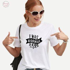 Я был нормальные Три Дети назад Смешной тенниска Женщины Хлопок Женщина O шеи Tee Shirt Femme короткого рукав Белого Camiseta