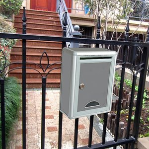 Vintage de aluminio con cerradura Secure Mail Carta Post Box buzón del buzón de correos para jardín ornamento decoración T200117