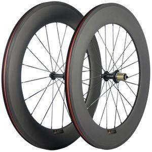 88мм Глубина углеродного волокна Колесная заклепка дорожный велосипед 23мм Ширина R13 Hub Колеса 3K Матовый Базальт 700C гонки Carbon Колеса