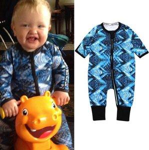 2019 Otoño Invierno infantil del muchacho del bebé recién nacido Romper ropa de Navidad de la impresión floral algodón de abrigo Mono Kid ropa del niño