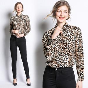 Neue Ankunft 2019 Sommer Herbst Mode Sexy Leopardenmuster Kragen Frauen Casual OL Büro Taste Vorne Langarm Top Shirt Bluse